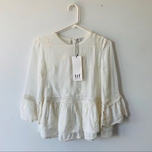 Zara Ivory Embroidered Lace Blouse Peplum Top NEW